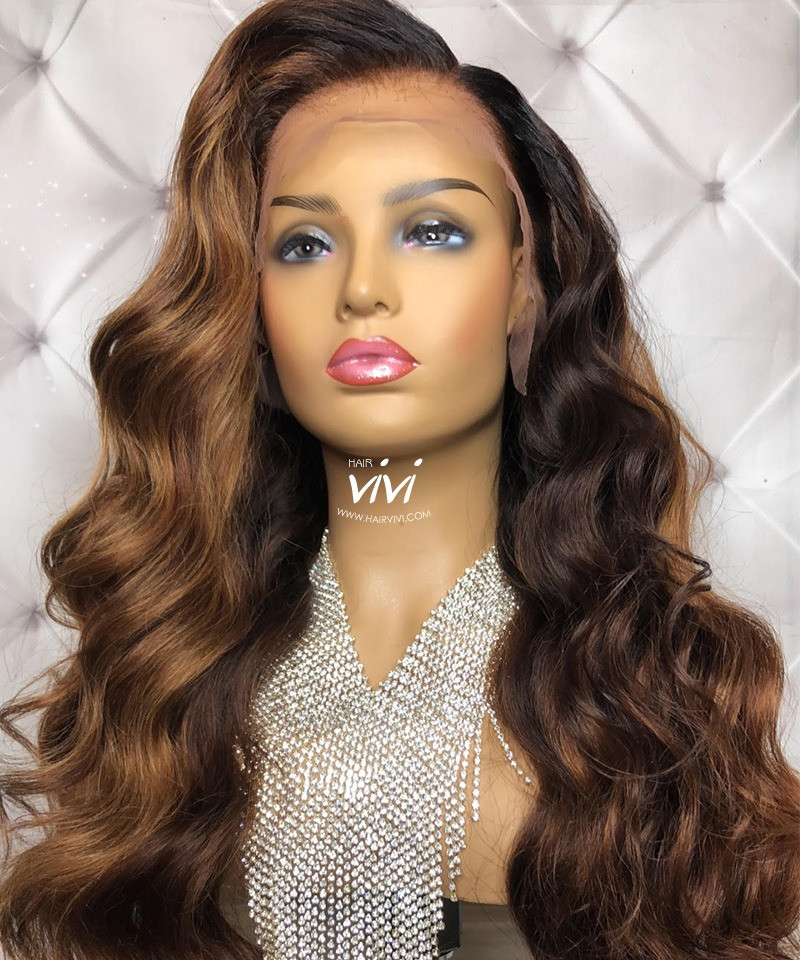 Kristina Golden Brown Long Lace Wig Online Human Hair