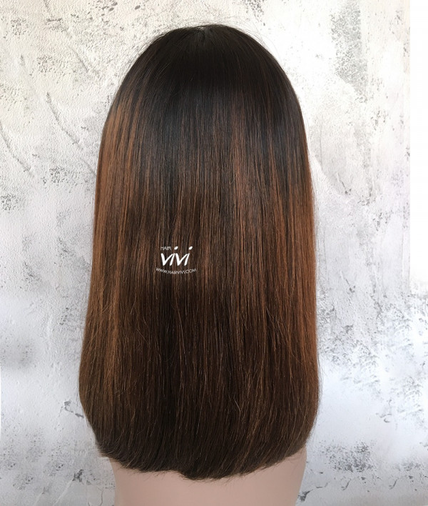 Honey Brown Bob Hair Lace Front Wig Side Bangs Online