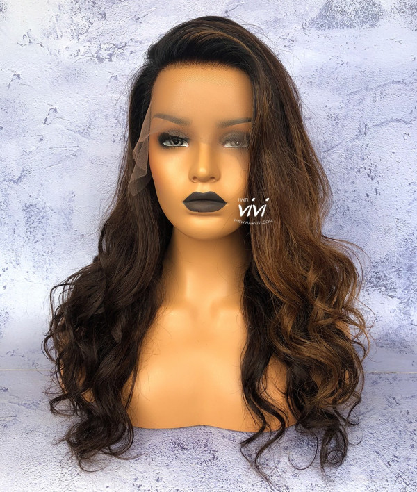 Boss Lady Long Black Wig With Brown Highlights Online Human Hair
