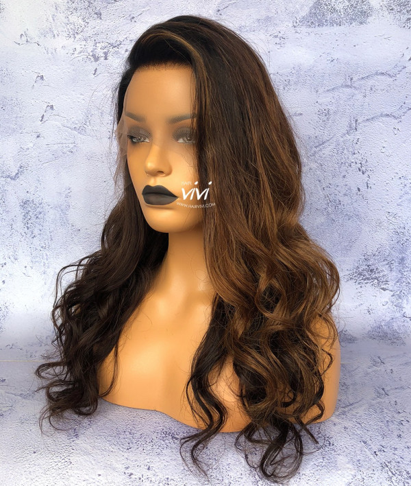 Quot Boss Lady Quot Long Black Wig With Brown Highlights Online